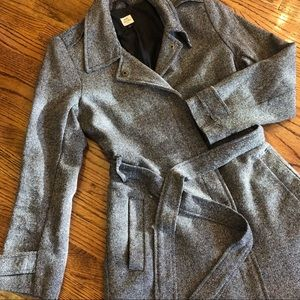 Old Navy Gray Tweed Belted Trench Coat L